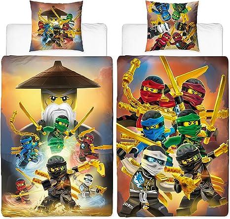 LEGO NINJAGO Set 140x200cm Baumwolle Kinder Bettwäsche Bettgarnitur 2-teilig 06