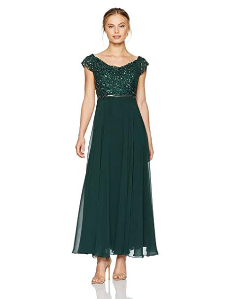 J Kara Women's Beaded Empire Waist Gown Petite
