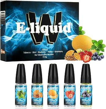 Wotek 5 X 10 ml E-líquido para Cigarrillo Electrónico Líquido E Cigarrillo sin Nicotina o Tabaco con 50% VG 50% Gusto Mixto (Tabaco, Menta, Arándano, Melón, Fresa): Amazon.es: Salud y cuidado personal