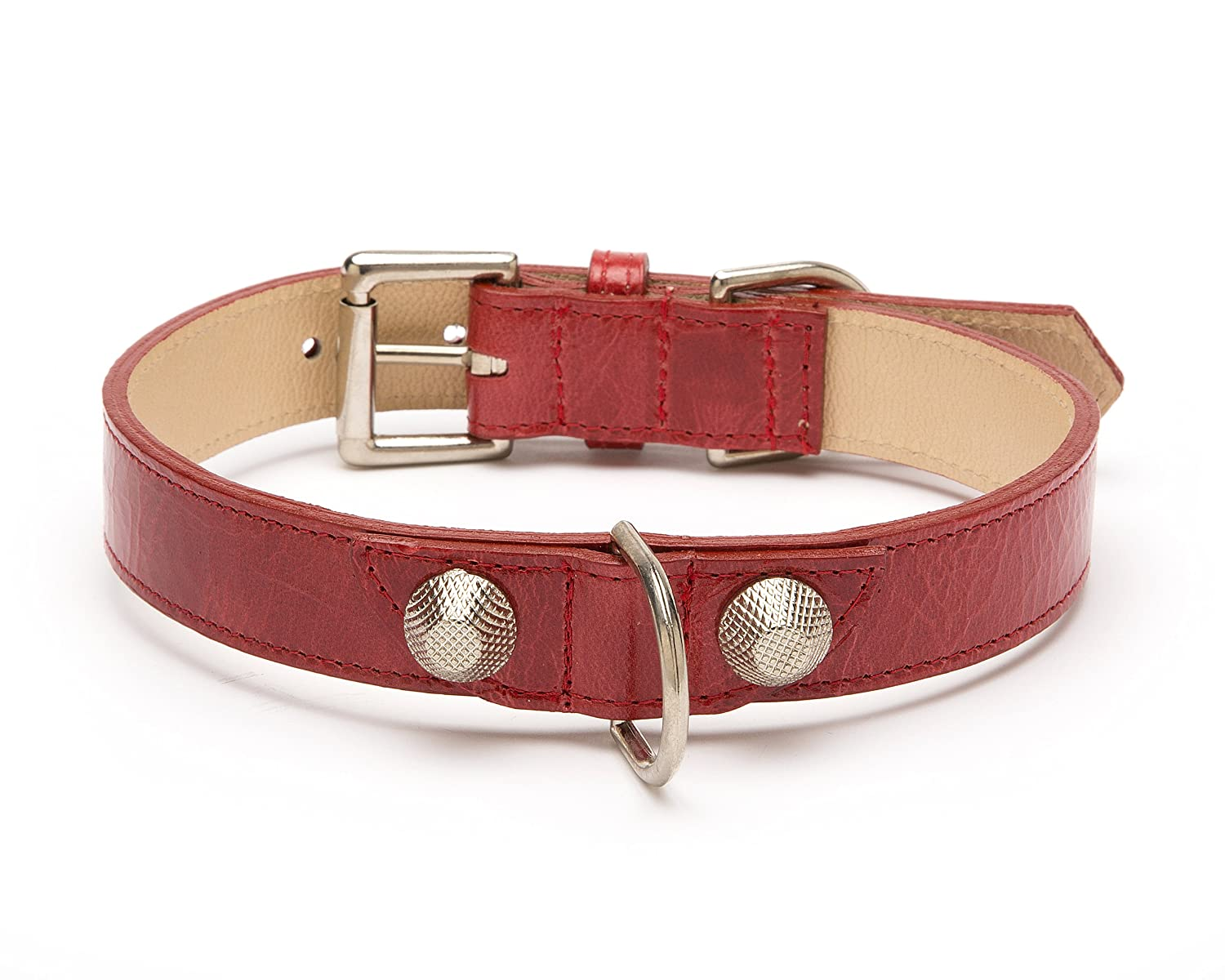 Balencioochee Straight Dog Collar, Rivets, Extra Small Size 8, Red with Silver Rivets