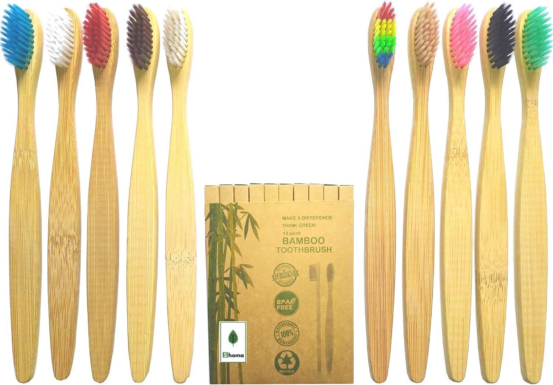 Pack de 10 cepillos de dientes de bambú biodegradable, ecológico ...