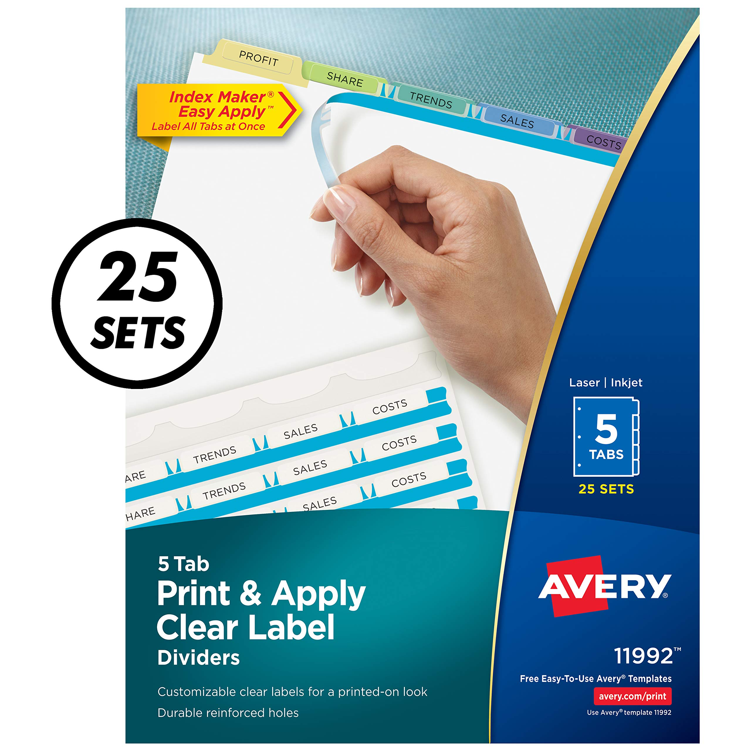 Avery 5-Tab Binder Dividers, Easy Print & Apply Clear Label Strip, Index Maker, Pastel Tabs, 25 Sets (11992) by Avery