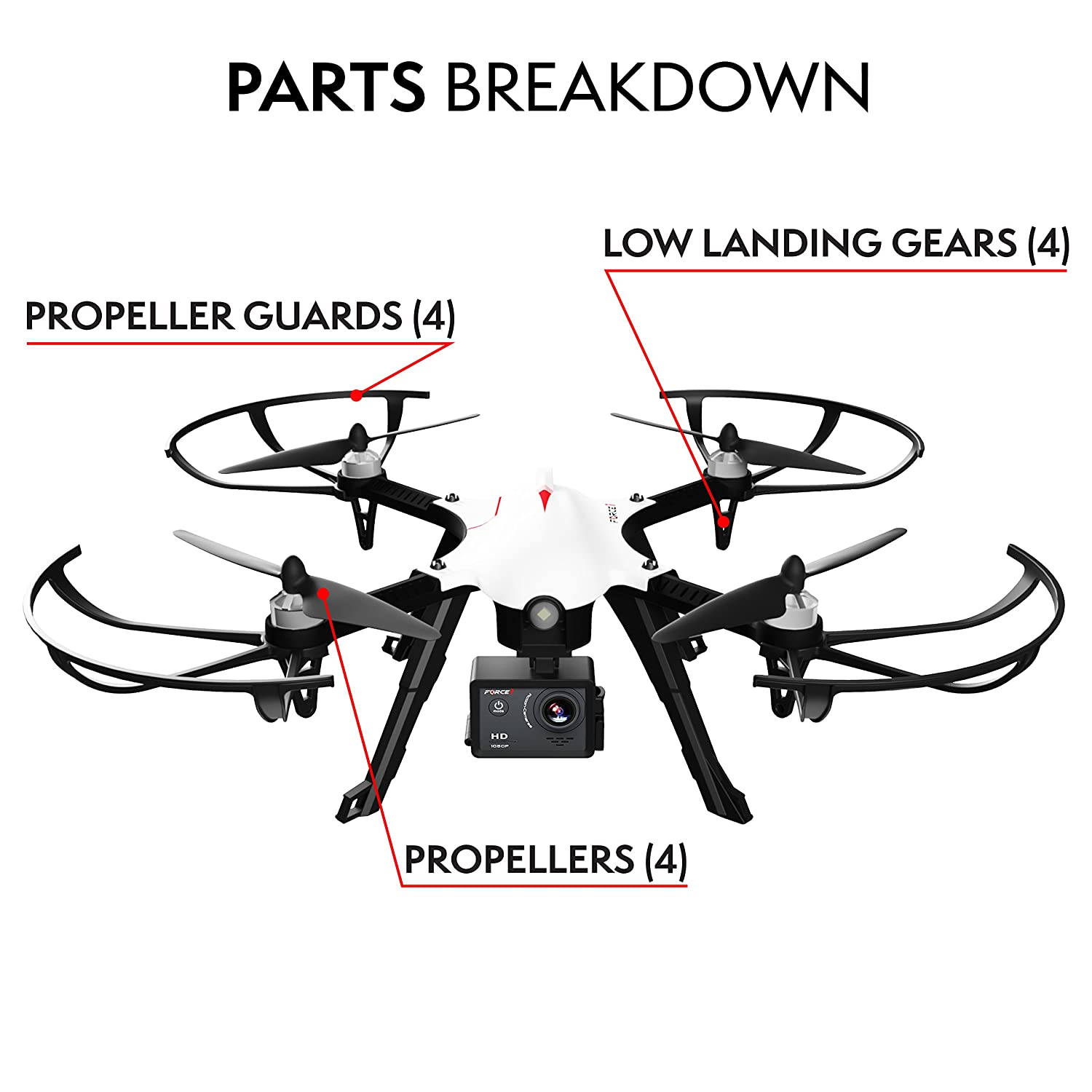 Propellers Prop Guards /& Landing Gear Spare Parts Kit Also Compatible w// MJX B3 Bugs 3 Quadcopter Force1 F100 /& F100 Ghost Drone Parts Crash Pack