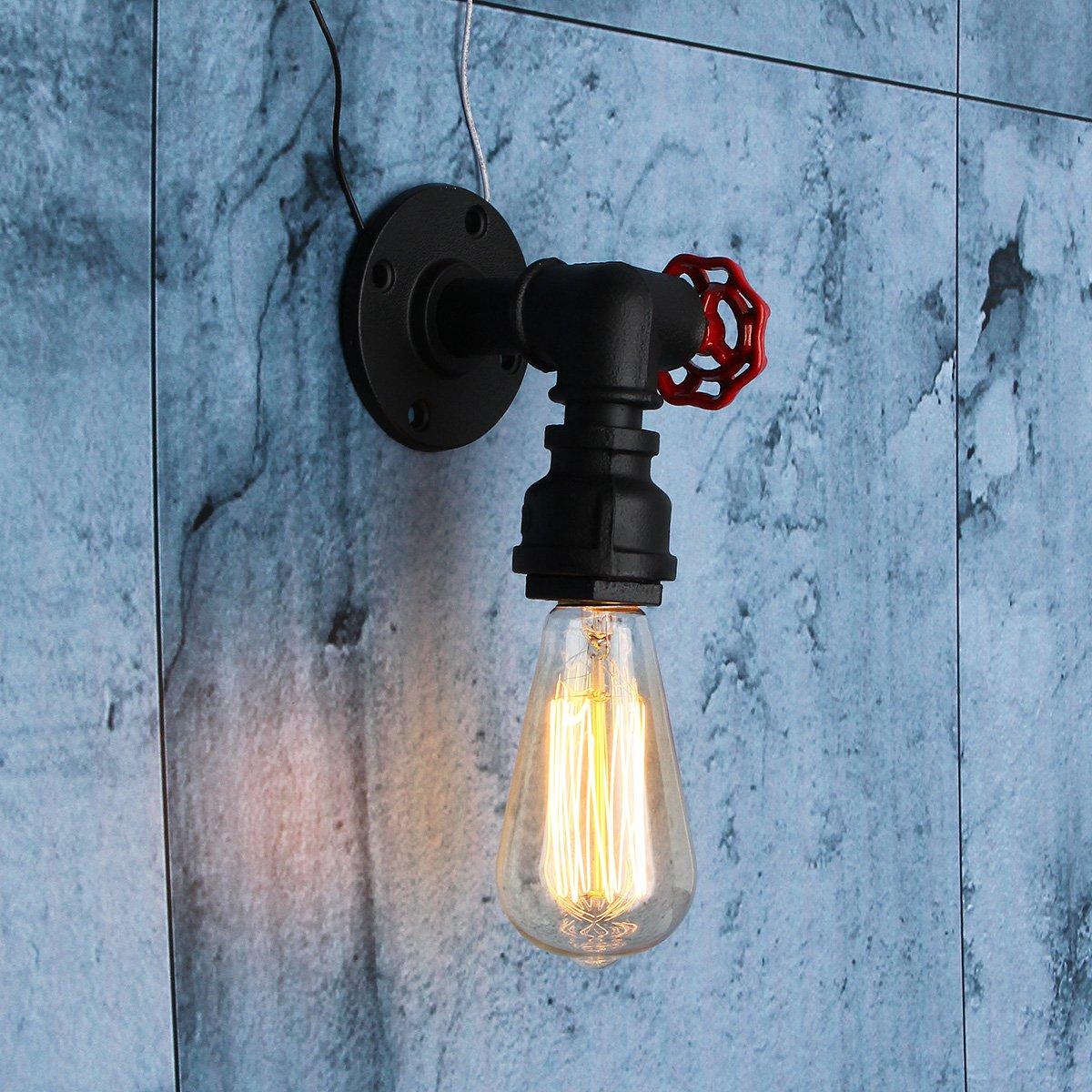 Jeteven Lámpara de Pared de Tubo de Vintage Lámpara Retro Industrial Sin Bombilla Decoracion de Café Hotel Habitacion JETEVENDEHOCORA659