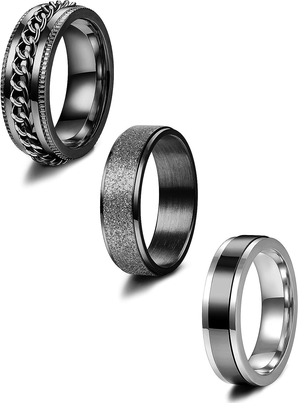 Adramata 3 Pezzi in Acciaio Inossidabile Fidget Anello a Fascia per Mens Anelli Spinner Matrimonio Promettere Set di Anelli a Fascia 6-8MM