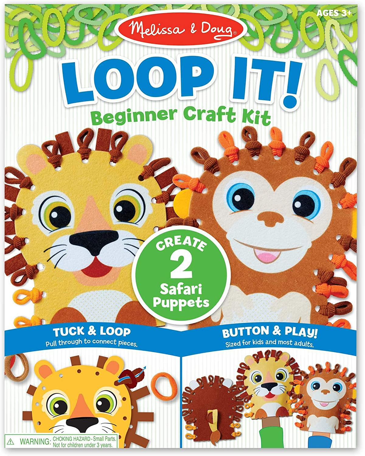 Safari Puppets Beginner Craft Kit Best for 3 40 Loops 30186 4 Lion and Monkey Felt Hand Puppets and 5 Year Olds Great Gift for Girls and Boys Melissa /& Doug Loop It