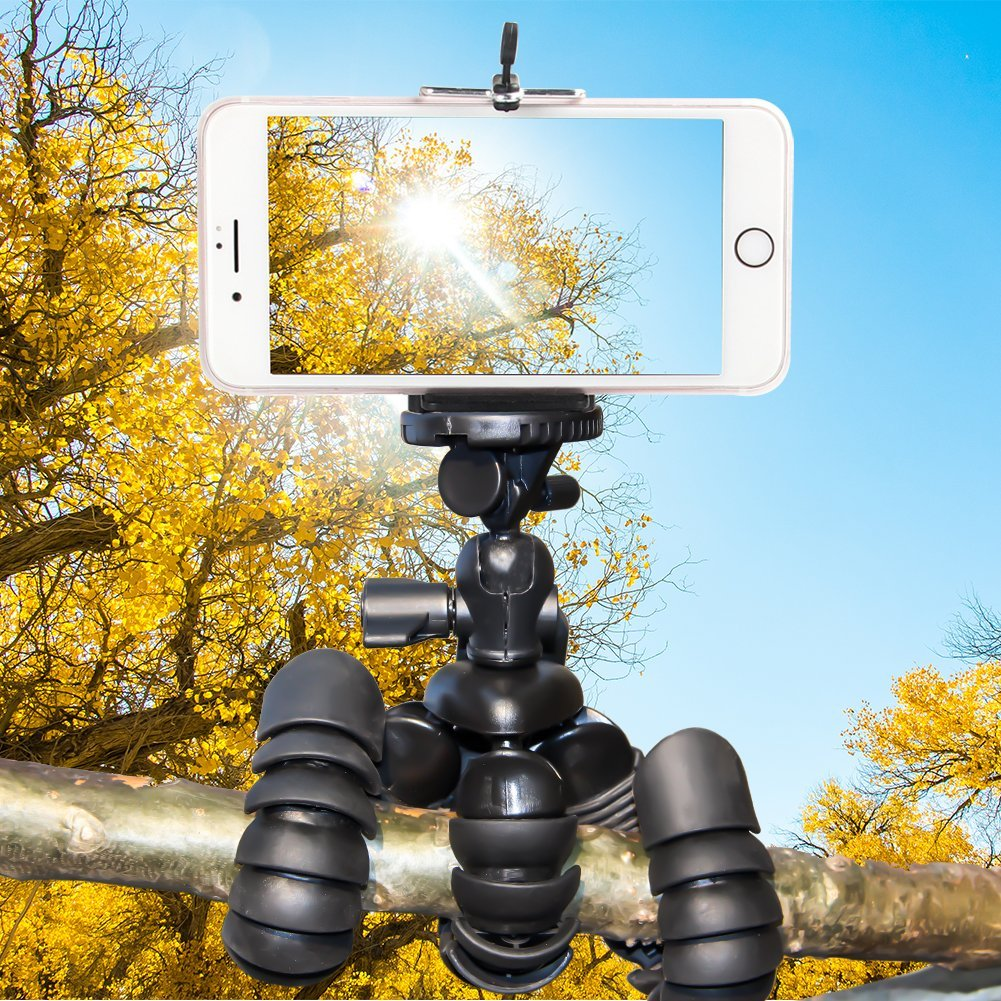Mini trípode flexible,Tairoad Trípode Movil de 12 pulgadas con Clip Universal para cualquier cámara GoPro de Smartphone y Cámara digital
