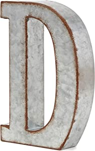 Bright Creations Rustic Letter Wall Decor - Galvanized Metal 3D Letter D Decor