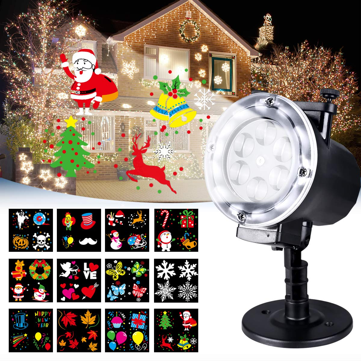 Luces de Proyector, LED Lámpara de Proyección de Navidad para Exterior e Interior Luz de