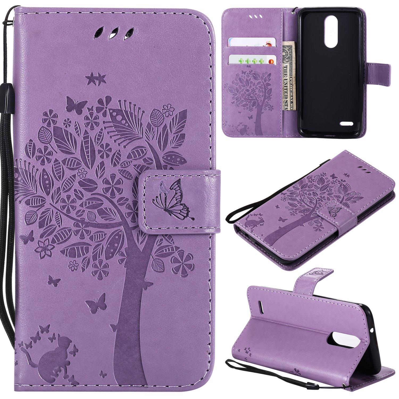 LG Aristo 2 Plus/Aristo 2/Zone 4/Tribute Dynasty/Fortune 2/Risio 3/Rebel 3 LTE/K8 Plus Flip Case,LG K8 2018 PU Leather Wallet Embossed Floral Tree Cat Case Kickstand Case Card Holder Light Purple