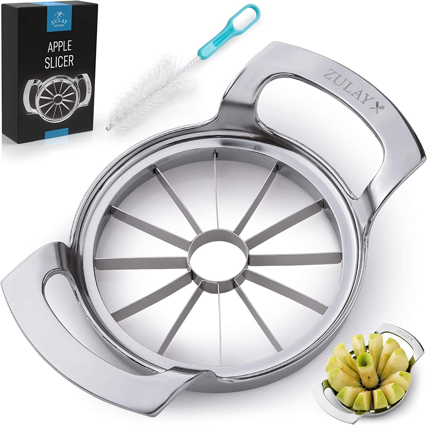 Zulay Kitchen 12-Blade Apple Slicer - Heavy Duty Metal Apple Cutter With Stainless Steel Ultra-Sharp Blades - Durable Apple Corer and Slicer For Coring, Slicing, & Pitting Up To 4 Inch Apples