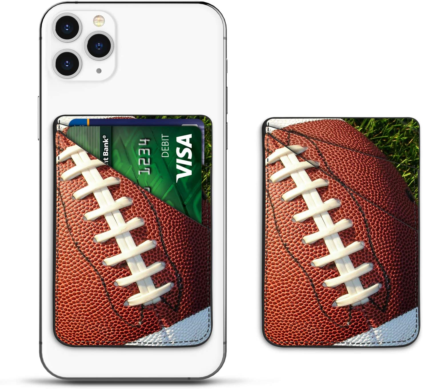 Njjex Phone Card Holder for Back of Phone, PU Leather ID Credit Card Wallet Cover Case Pouch Sleeve Pocket 3M Adhesive Stick on iPhone Samsung Galaxy LG Motorola Android Smartphones [Football]
