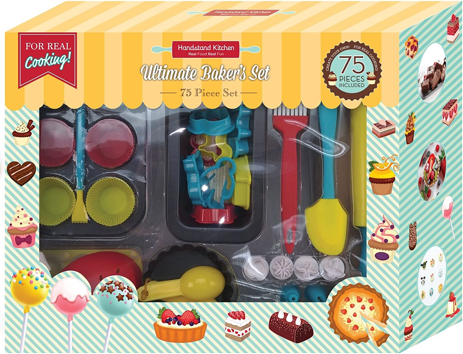 Handstand Kitchen 75-piece Ultimate Real Baking Set with Recipes for Kids