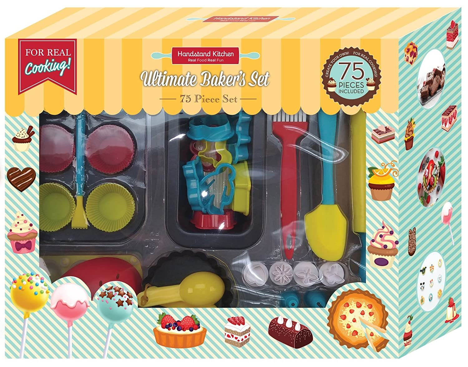 Handstand Kitchen 75-piece Ultimate Real Baking Set with Recipes for Kids Handstand Kids LLC BKS-75