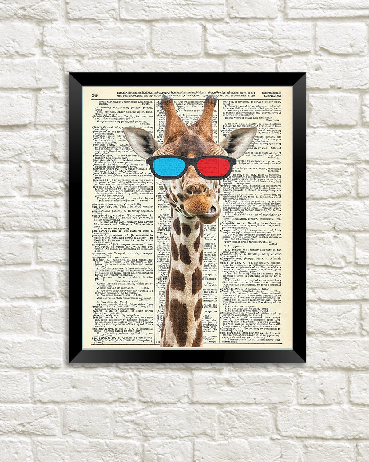Amazon QG Art Giraffe Dictionary Canvas Wall Frame Prints 20 X 25cm Stretched And Ready To Hang Posters