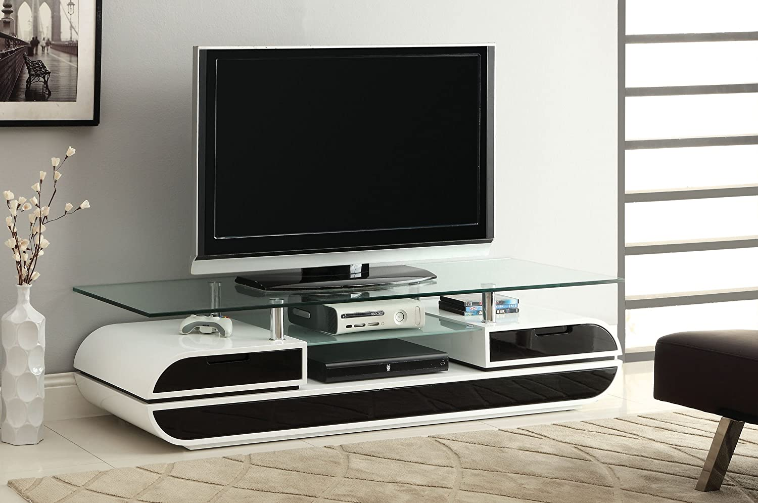 63-Inch Furniture of America Glenn Contemporary TV Console//Stand Glossy Black and White