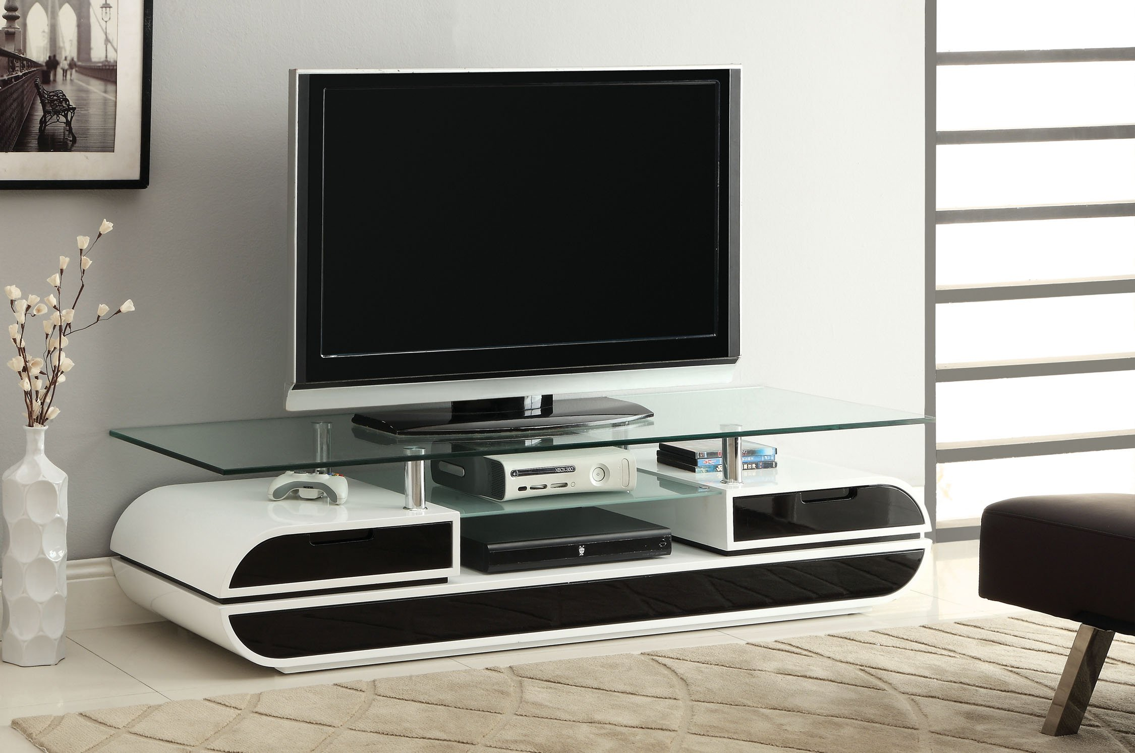 Furniture of America Glenn Contemporary TV Console/Stand, 63-Inch, Glossy Black and White by Furniture of America