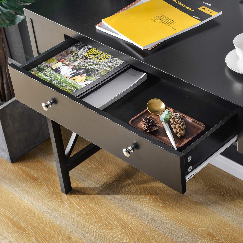 Altezza 78 cm tavolino Nero con Gambe in Legno di Pino per corridoio Camera da Letto Soggiorno BTM Consolle Nera con Ampio cassetto
