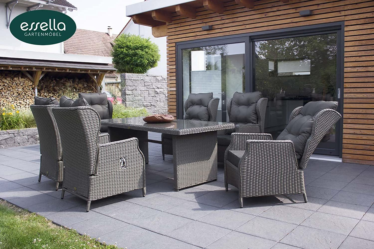 polyrattan sitzgruppe kingston 6 personen rundgeflecht grau rund gartenm bel. Black Bedroom Furniture Sets. Home Design Ideas