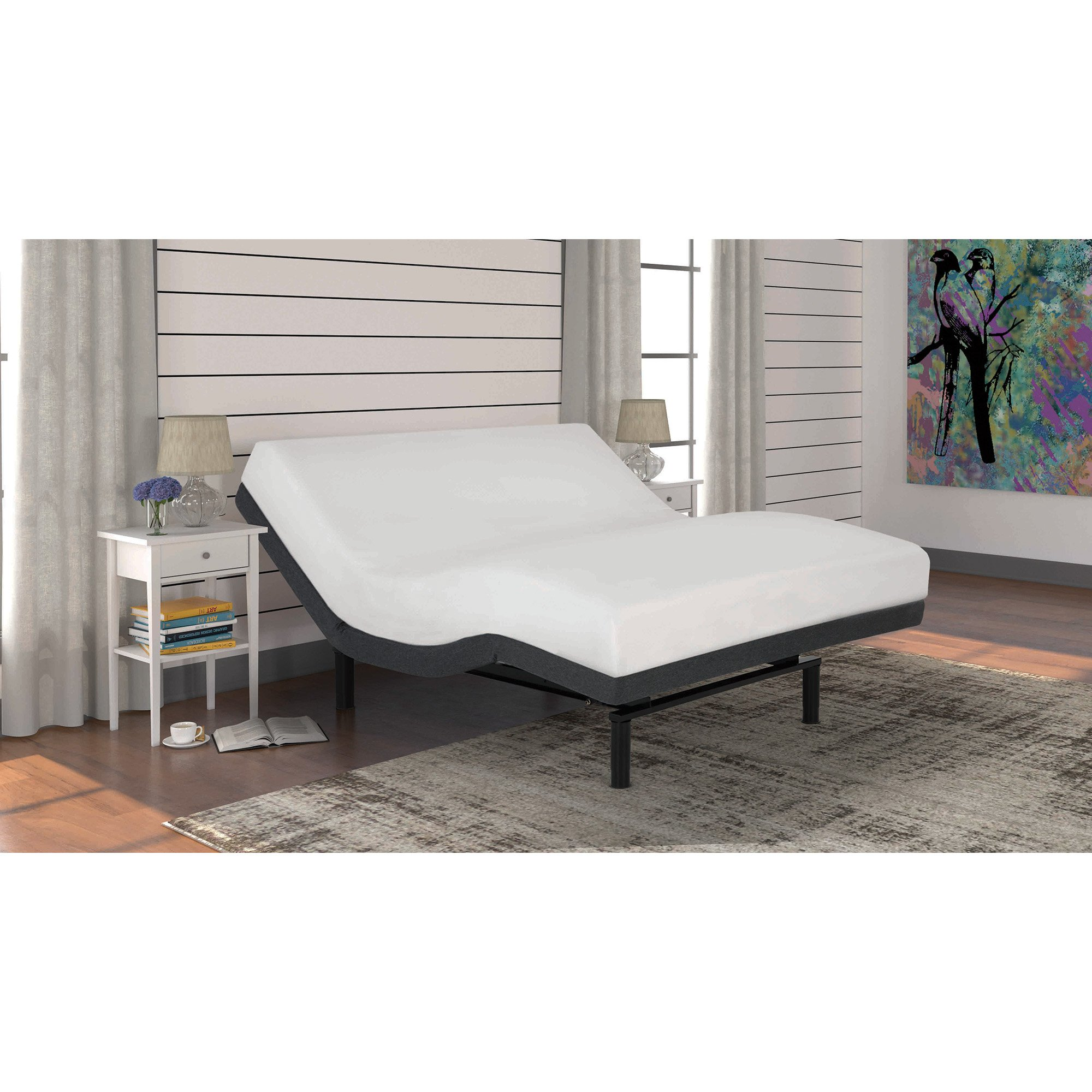 S-Cape 2.0 Adjustable Bed Base with Wallhugger Technology and Full Body Massage, Charcoal Gray Finish, Queen by Fashion Bed Group