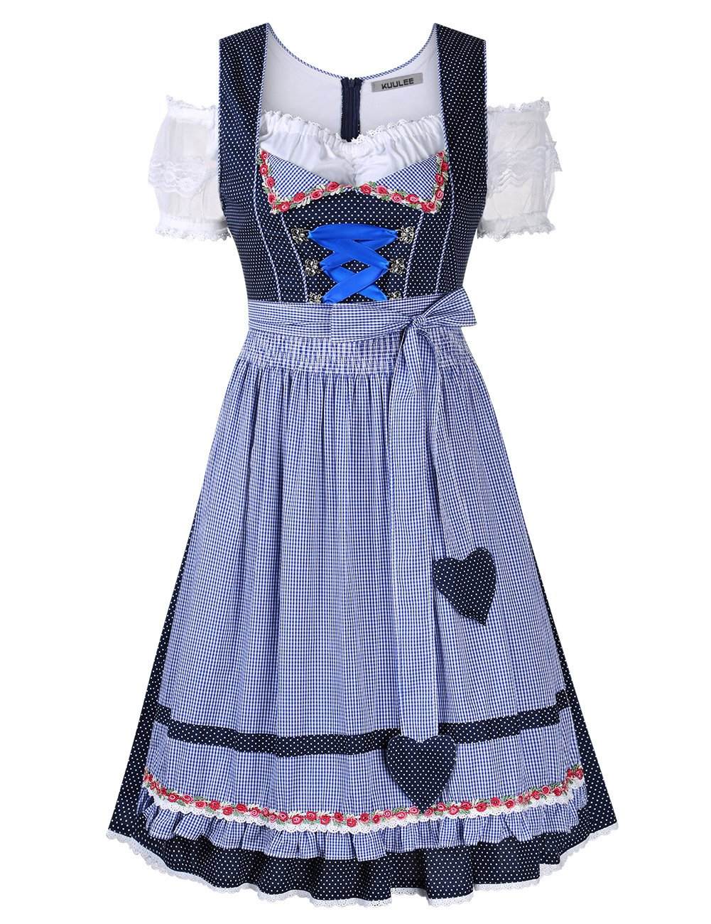 Leoie Kuulee Women's Three Piece Suits Formal Dress Dot Embroidery Lace Short Sleeve Fashion Party Dress for Oktoberfest Blue Dot 40