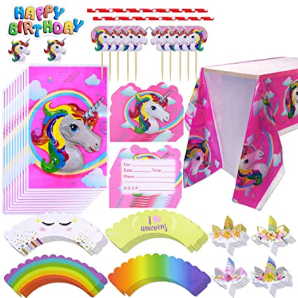 Konsait Unicorn Party Supplies Set with Disposable Tablecloth, Cake  Toppers, Invitation Cards, Gift Bags for Rainbow Unicorn Kids Birthday  Party
