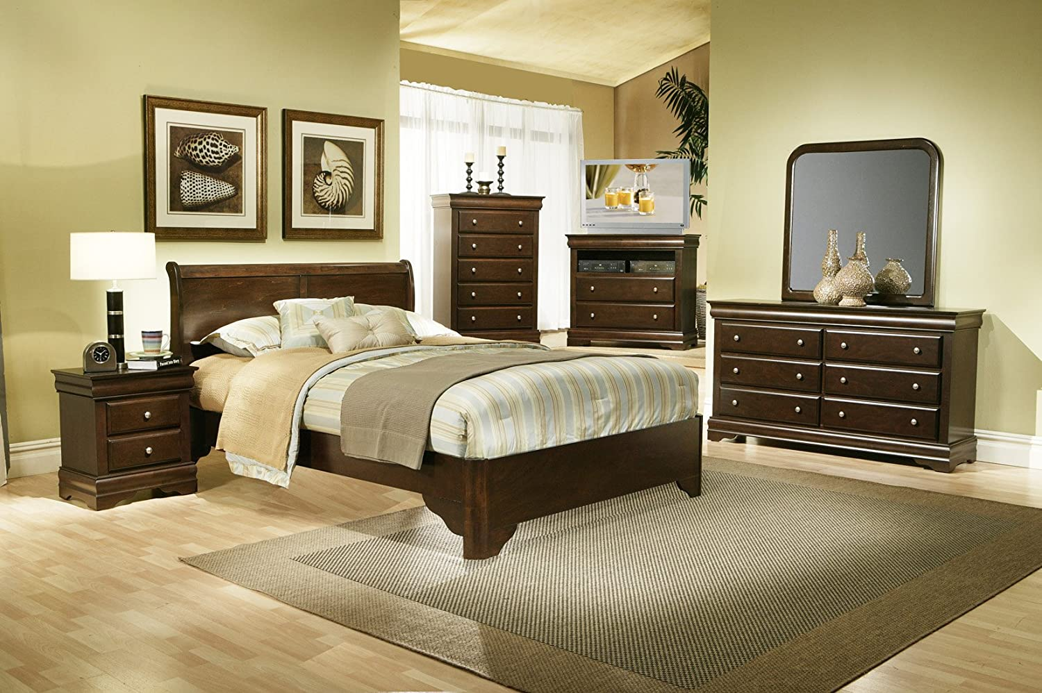 Alpine Furniture 5 Piece Chesapeake Sleigh Bed Set with Media Chest - Queen - Cappuccino