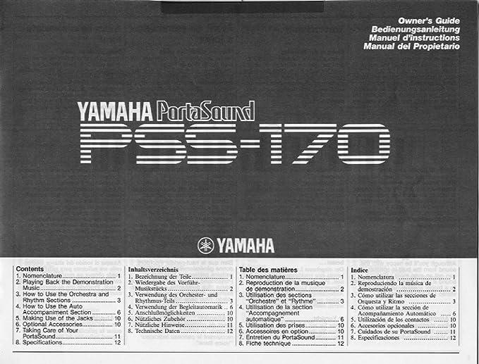 Amazon.com: Yamaha Electronic Keyboard PortaSound PSS-170: Musical Instruments