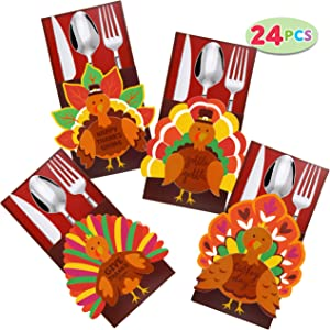 Thanksgiving Cutlery Holder Set for Thanksgiving Turkey Utensil Décor, Autumn Fall Harvest Party Favor Supply Table Decoration, Thank You Cards.