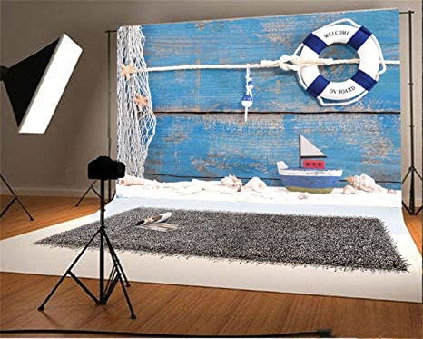 7x10 FT Vinyl Photography Background Backdrops,Marine Elements Fish Lighthouse Anchor Vessel Swimsuit Gulls Lifebuoy Print Background for Graduation Prom Dance Decor Photo Booth Studio Prop Banner