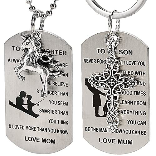 Amazon Com 2pcs Dog Tag Keychain And Necklace W To My Son Daughter