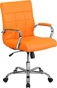 Flash Furniture Mid-Back Orange Vinyl Executive Swivel Office Chair with Chrome Base and Arms