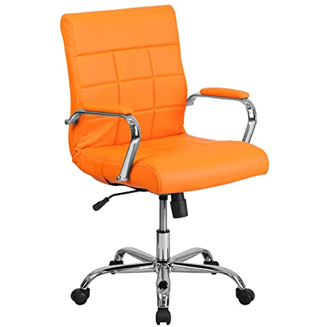 Marvelous Flash Furniture Mid Back Orange Vinyl Executive Swivel Office Chair With Chrome Base And Arms Ncnpc Chair Design For Home Ncnpcorg