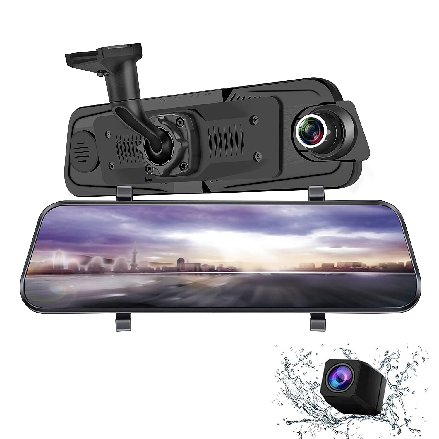 TekBow 2 Parking Monitor Auto Camera Dash cam 9.66 Inch Full HD Front 1080P and Rear 1080P Media Screen with Bracket H10 170/°Wide-Angle Lens and Rearcam