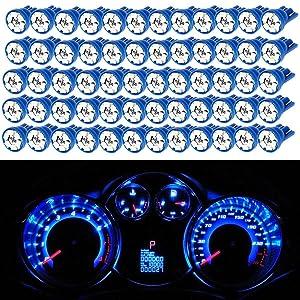 Partsam Blue T10 194 168 6-SMD 3020 LED Bulbs for Car Truck Instrument Panel Dashboard Lights Lamps 12V (Pack of 100pcs)
