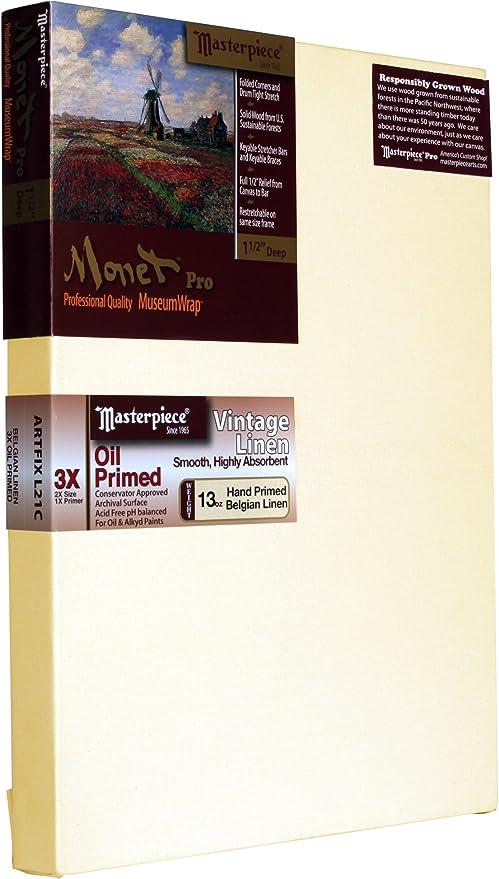 Masterpiece Artist Canvas 44146 Monet PRO 1-1//2 Deep 3X Vintage Oil Primed 18 x 48 Linen/13.0oz