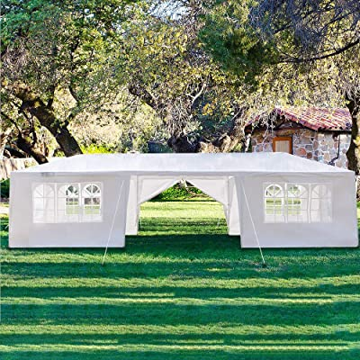 DealmerryUS Outdoor Large Canopies 10x30 ft with Sidewalls, Heavy Duty Instant Canopies with Nails, Easy Up Waterproof Tents 30 Person with 2 Doors, for Camping Wedding RV Party, White (US Stock) : Garden & Outdoor