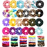 75 Pcs Premium Velvet Hair Scrunchies Silk Scrunchies Chiffon Flower Hair Bands for Women or Girls Hair Accessories with…