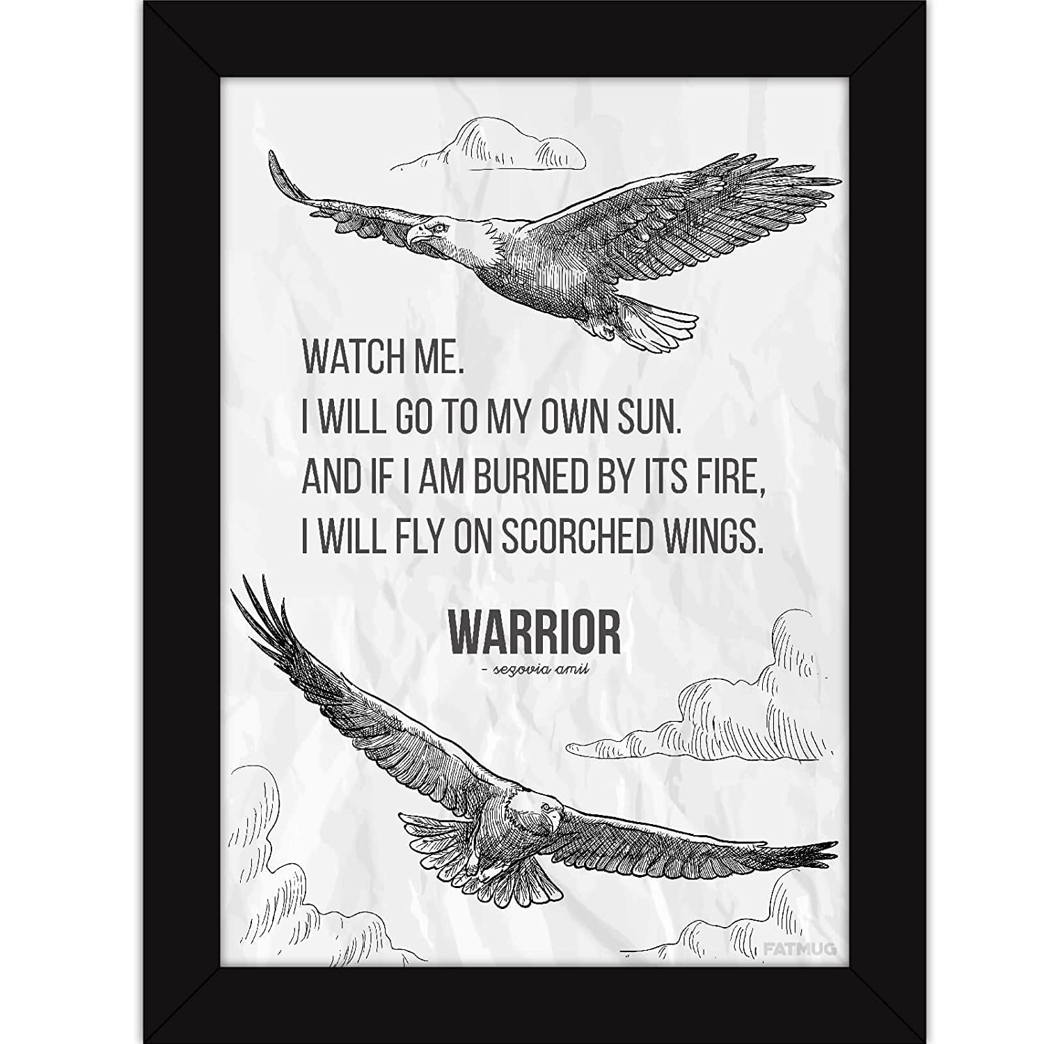 Inspirational Posters With Frames - Motivational Quotes For Office And Room Decor - Warrior Poem