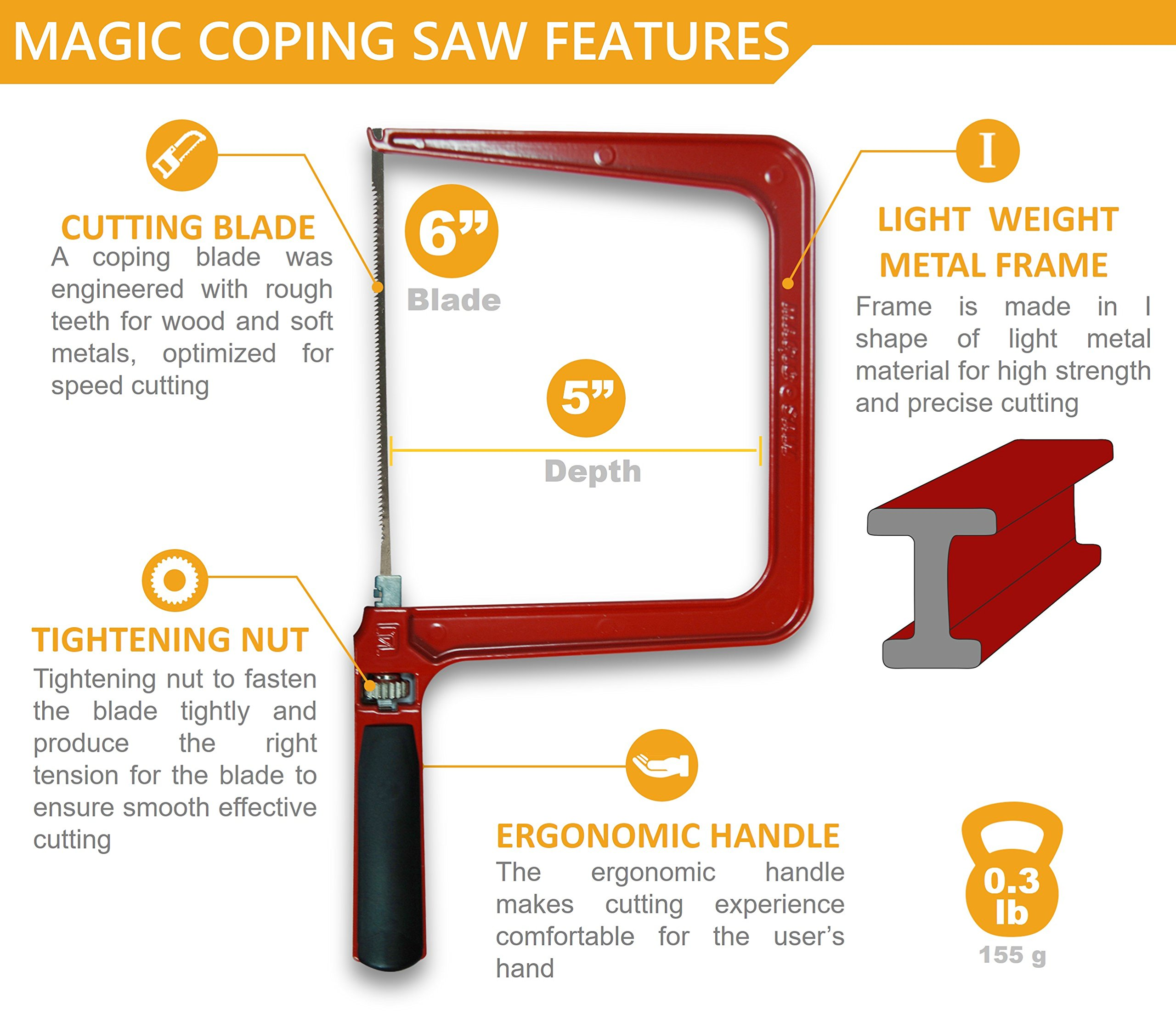 Original Magic Coping Saw with 6 inch High Carbon Steel Pins Blades, a Heavy Duty H shape Metal Frame Works as Fret Saw, Hacksaw, and Pruning Saw & Suitable to Cut Wood, Plastic, PVC, Aluminum, Nails by Amazing Tools (Image #2)