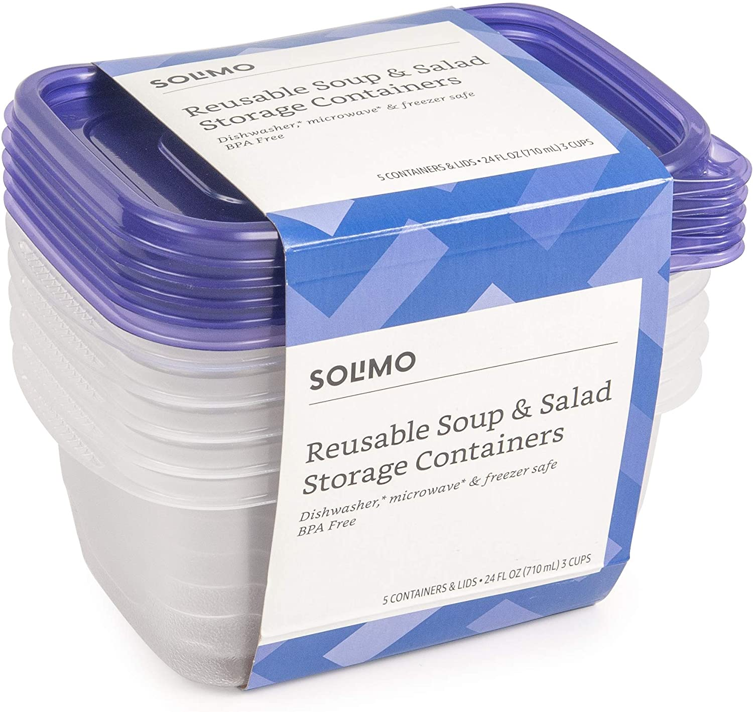 Amazon Brand - Solimo Plastic Food Storage Containers with Lids (30 Pack) - BPA-Free, Safe for Dishwasher, Microwave, Freezer - Soup & Salad 24 oz.