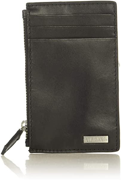 eea337e9bcdda Calvin Klein Men's Zip Around Wallet, Black, One Size at Amazon Men's  Clothing store: