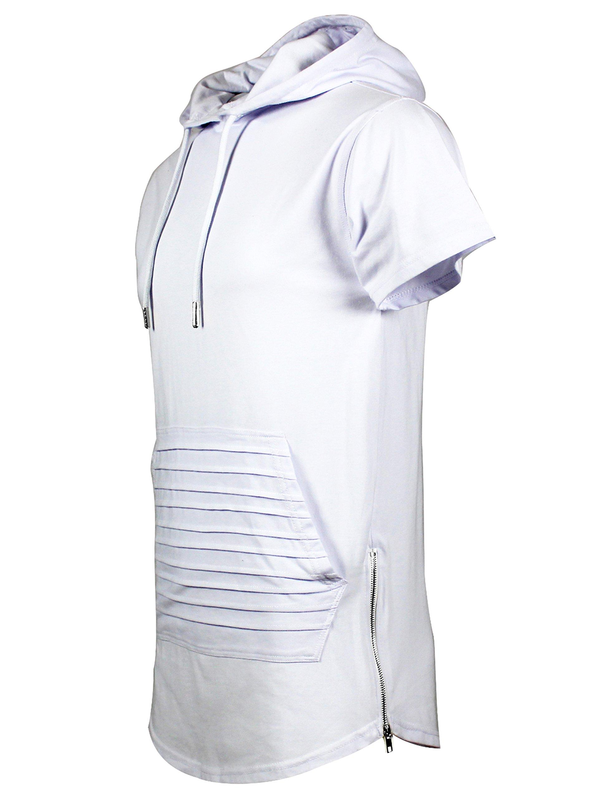 Screenshotbrand Mens Hip Hop Longline Premium Tee - Pullover Hooded Fashion T-Shirt w/Side Zipper Biker Trimmed Pocket - White - XLarge