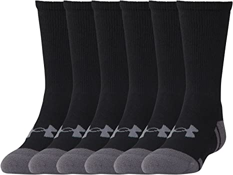 afb4dd643cf Amazon.com  Under Armour Youth Resistor 3.0 Crew Athletic Socks (6 ...