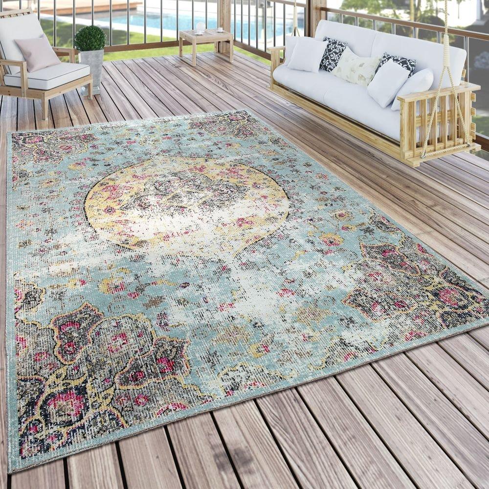 Paco Home In- & Outdoor Teppich Modern Orient Print Terrassen Teppich Wetterfest Türkis, Grösse 160x220 cm