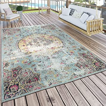 da82629ab0bdb0 Paco Home In- & Outdoor Teppich Modern Orient Print Terrassen Teppich  Wetterfest Türkis, Grösse