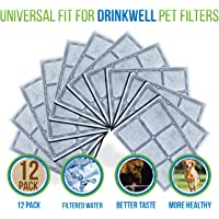 Premium Platium Charcoal Water Filter Replacement for Drinkwell Pet Fountain - 12 Filters