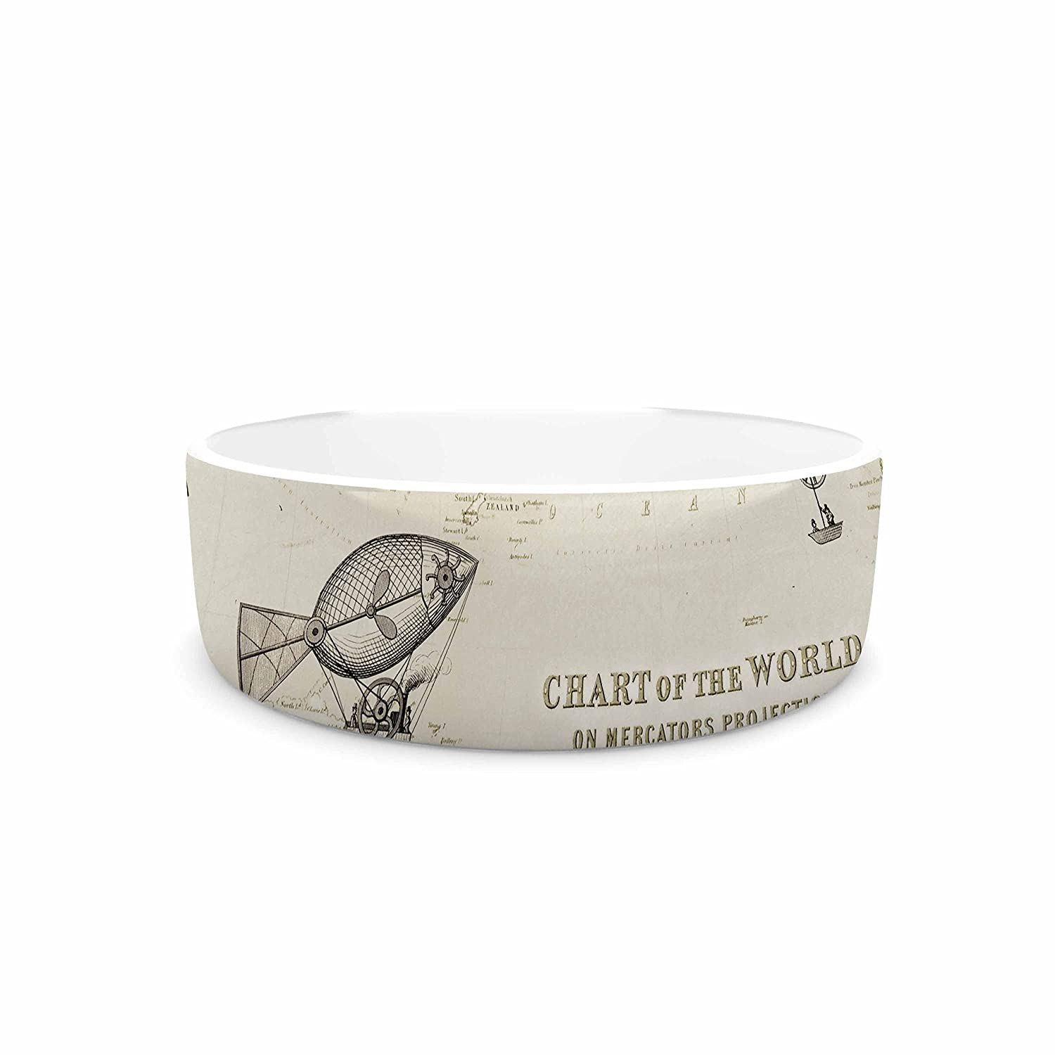 7\ KESS InHouse Catherine Holcombe The Southern route  Brown White Pet Bowl, 7
