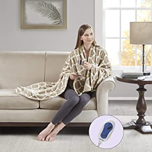 """Beautyrest - Plush Heated Throw Blanket – Secure Comfort Technology –Oversized 60"""" x 70""""- Tan - Ogee Pattern in White - Cozy Soft Microlight Heated Electric Blanket Throw - 3-Setting Heat Controller"""