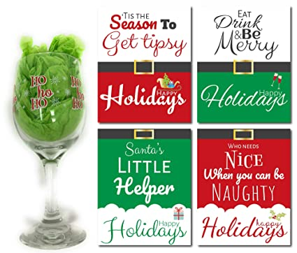 Christmas Gifts For Wine Lovers.Amazon Com Holiday Wine Glass And Bottle Labels Set Ho Ho